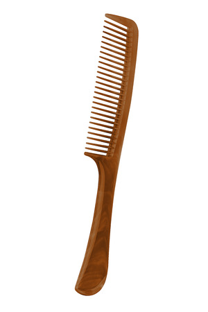 Brown plastic comb with handle, isolated on transparent or white background