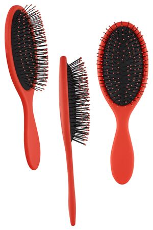 Set of three instances of an elegant red hair comb brush with handle, isolated on transparent or white background