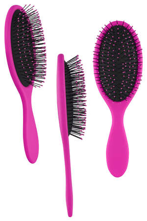 Set of three instances of an elegant magenta hair comb brush with handle, isolated on transparent or white background Stock Photo