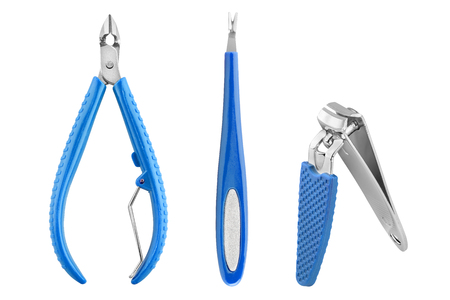 Three stainless steel nails care basic instruments with blue rubber cover: two-pronged dead skin scissor and cuticles pliers, cuticle pusher and nail clippers, beauty products isolated on white background, clipping path included