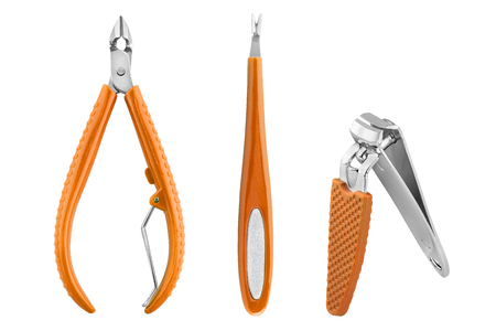 Three stainless steel nails care basic instruments with orange rubber cover: two-pronged dead skin scissor and cuticles pliers, cuticle pusher and nail clippers, beauty products isolated on white background
