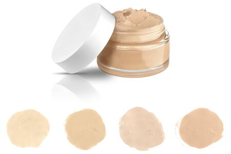 Luxury glass face make-up creme foundation open container and four round color samples, isolated on white background, clipping paths included