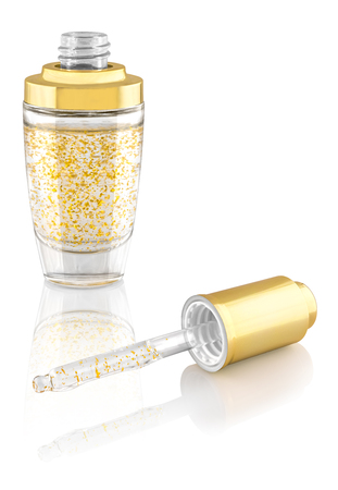 Moisturizing anti-ageing face-care serum with gold particles in luxury glass open container with golden lid, isolated on white background, reflected on the surface, clipping path included Stock Photo