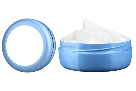 crinkles: Facial cosmetic cream in blank blue open jar and closed standing jar, beauty products isolated on white background