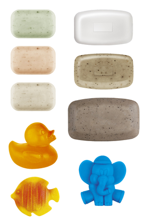 Various kinds of solid soap for hygiene and cleanliness, kids soap, funny and animal shaped soap,  isolated on white background, clipping paths included
