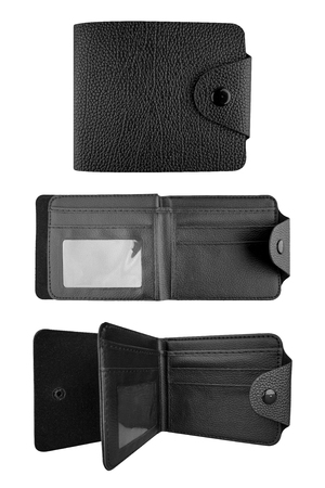 Man black leather wallet. Three instances of a stylish wallet, isolated on white background, clipping paths included