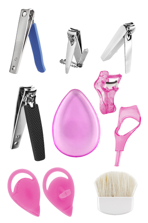 Beauty tools and accessories for nails, face make-up, eyelashes and face cleaning, beauty products isolated on white background, clipping paths included