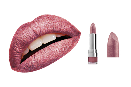 Plum red glossy glitter lipstick and high resolution woman lips, isolated on white background, clipping path included Stockfoto