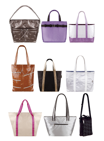 Women color stylish handbags isolated on white background, clipping paths included Фото со стока