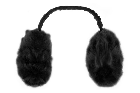 Black winter earmuffs isolated on white background