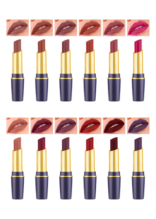 Matt lipstick in beautiful blue and golden container and assorted woman lips complete set of colors, isolated on white background, clipping path included