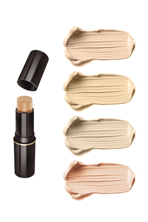 Light beige color solid concealer and four high resolution sample strokes, beauty product isolated on white background, clipping path included 스톡 콘텐츠