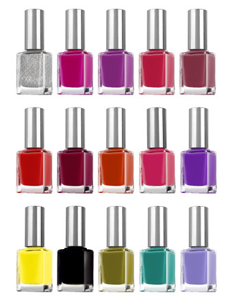 Colorful big set of nail polish bottles, isolated on white background, clipping paths included 写真素材