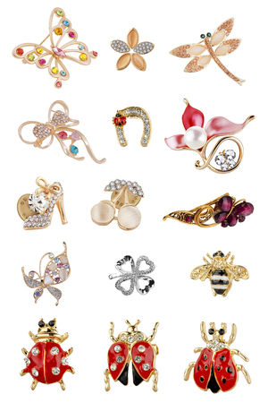 Woman brooches. Great collection of brooches of various shapes and sizes, with pearls and diamonds, isolated on white background, clipping paths included