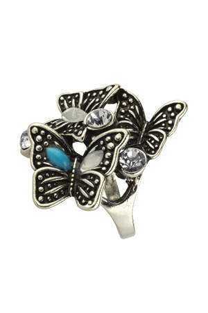Silver ring for women with butterflies and diamonds, vintage style, fashion item isolated on white background, clipping path included