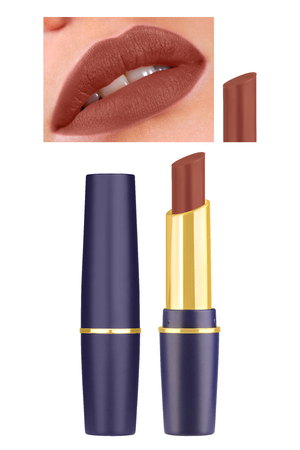 Pale red matt lipstick in beautiful blue and golden container, high resolution assorted woman lips, isolated on white background, clipping paths included