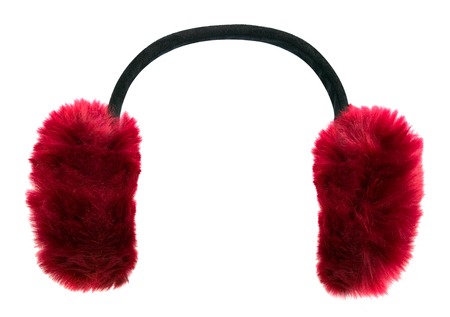 Dark red winter earmuffs isolated on white background Stock fotó - 116069035