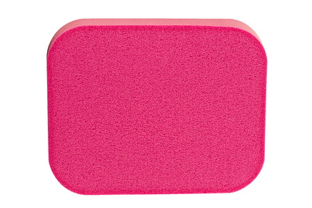 Red cosmetic sponge pad for face cleaning, high resolution, isolated on white background, clipping path included