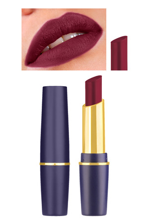 Amaranth purple matt lipstick in beautiful blue and golden container, high resolution assorted woman lips, isolated on white background, clipping paths included