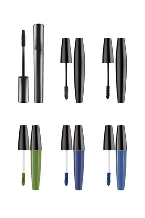 Cosmetic black and colored brushes mascara long eyelashes collection, beauty products isolated on white background, clipping paths included