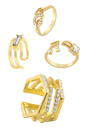 Vintage gold rings for women collection, with various shapes and small diamonds, fashion items isolated on white background, clipping paths included Фото со стока