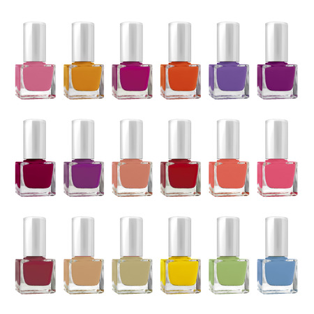 Colorful big set of nail polish square bottles, isolated on white background, clipping paths included