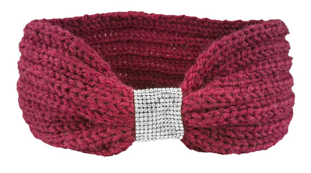 Red wool headband with jewelry decorations, winter fashion item isolated on white background, clipping path included Imagens