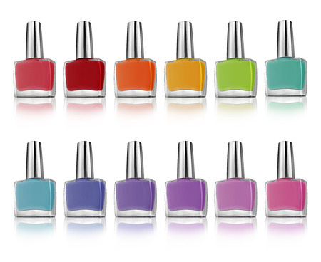Nail polish bottles colorful set, isolated on white background, clipping paths included