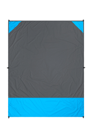 Gray and blue nylon beach blanket isolated on white background with visible corner pockets. Very thin and waterproof tarp or footprint for outdoor activities. Clipping path included. Stock Photo
