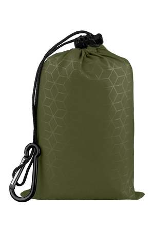 Very compact green nylon pocket blanket in a drawstring bag with a carabiner. Thin tarp or footprint for outdoor activities. Isolated on white background, clipping path included.