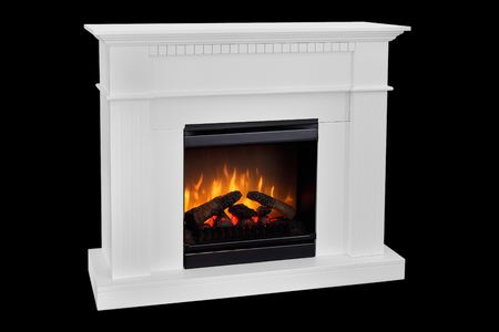 White wooden fireplace with roaring flames, classic elegant design. Isolated on black background.