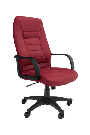 Office premium chair, perspective view. Modern red leather chair for office managers and CEOs. Isolated on white background