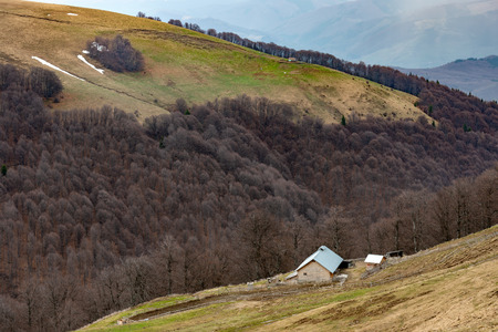 Sheepfold in the mountains, deforestation soil erosion provoked by intensive sheep grazing. Natural autumn landscape with leafless trees on a mountain. Banco de Imagens
