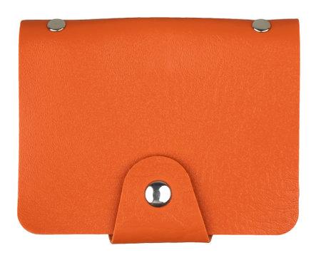 Orange business card holder. Stylish leather cardholder isolated on white background