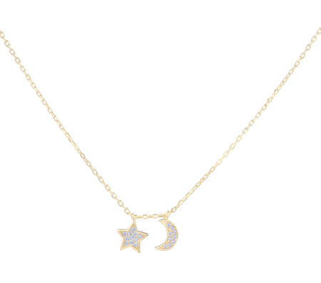 Gold woman necklace with star and moon pendants, isolated on white background, with clipping path 版權商用圖片