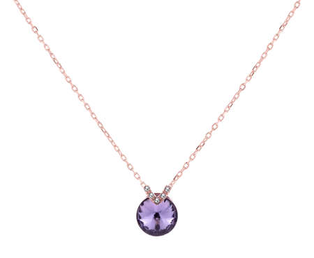 Pink gold woman necklace with amethyst pendant, fashion item isolated on white background, with clipping path