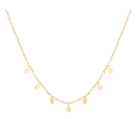 Gold woman necklace with tear-shaped pendants, isolated on white background, with clipping path 版權商用圖片