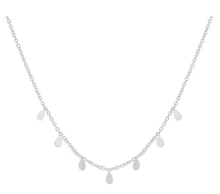 Silver woman necklace with tear-shaped pendants, isolated on white background, with clipping path