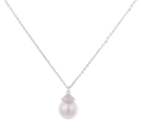Silver woman necklace with round pearl pendant, isolated on white background, with clipping path