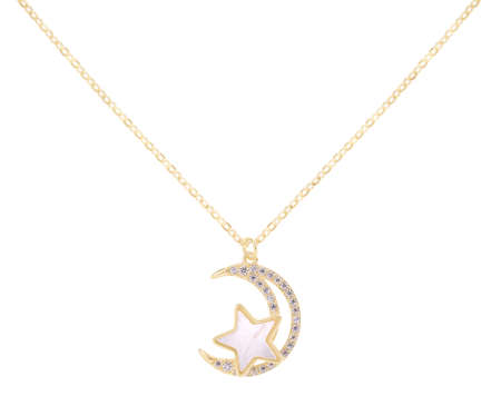 Woman gold necklace with star and moon pendants with diamonds and ivory, isolated on white background, with clipping path 版權商用圖片
