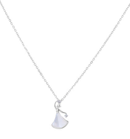 Woman silver necklace with ivory balerina pendant, isolated on white background, with clipping path