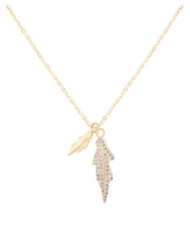 Woman gold necklace with diamonds and gold leaves pendants, isolated on white background, with clipping path