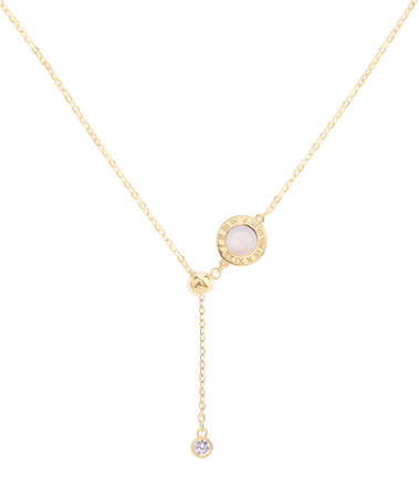 Woman gold necklace with ivory clock and diamond pendants, isolated on white background, with clipping path