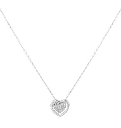 Woman silver necklace with heart and diamonds pendant, isolated on white background, with clipping path