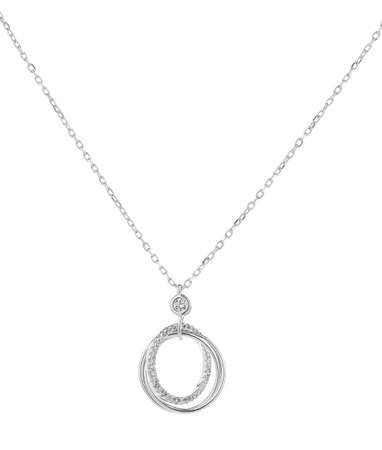 Woman silver necklace with big rings pendants, isolated on white background, with clipping path 版權商用圖片