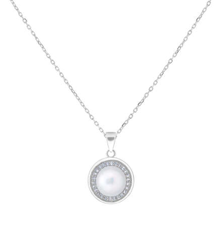 Woman silver necklace with round pendant with pearl and diamonds, isolated on white background, with clipping path 版權商用圖片