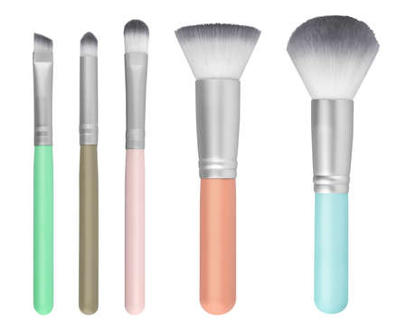 Various cosmetic brushes collection for applying face makeup blusher and foundation, beauty products isolated on white background, clipping path included 版權商用圖片