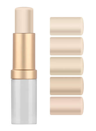 Solid concealer stick and five shades, used for covering blemish on the skin, isolated on white background, with clipping paths 版權商用圖片