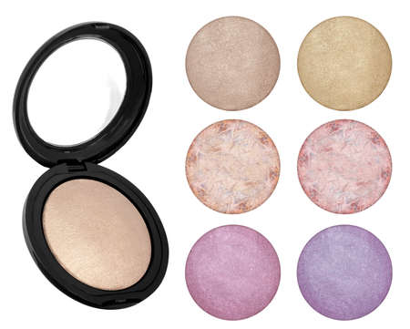 Face powder foundation or blusher samples and product, beauty bronzer isolated on white background, clipping paths included