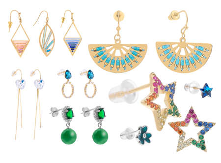 Gold earrings for women with precious stones and colorful beads, isolated on white background, clipping paths included